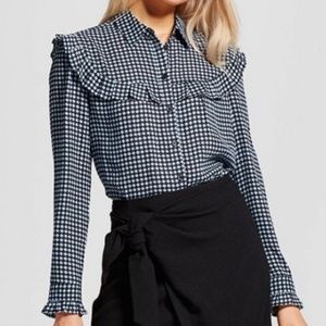 Who What Wear Ruffle Long Sleeve Button Up F23